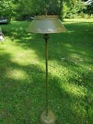 Vintage Mid-century Olive Green And Gold Tole Floor Lamp