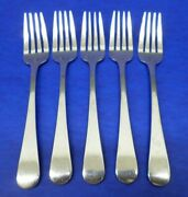 5 Hoffritz Back Bay Glossy Round Tip Stainless 18/10 Flatware 7 1/8 Salad Forks