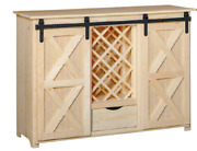New Amish Unfinished Solid Pine | Wine Cabinet | Barn Door | Modern Farmhouse