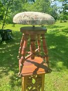 Antique Piano Stool A Merriam Co Clawfoot Glass Ball