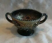 Antique Dugan Carnival Glass Blue Puzzle Pattern Footed/handled Compote