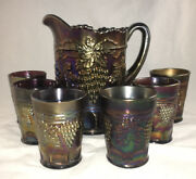 Northwood Carnival Glass Grape And Cable Pattern Water Set Pitcher And 6 Tumblers