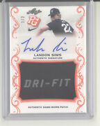 Landon Sims Auto Patch Card 1/2 2018 Leaf Perfect Game Nm Mississippi State