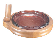 Vintage Single Tobacco Holder Pipe Stand With Glass Ash Tray Walnut Wood