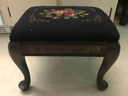 Antique Queen Anne Needlepoint Foot Stool Ottoman Black W/roses10x14x12estate