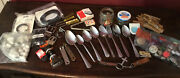 Vintage Junk Drawer Lot Stainless Steel Flatware Boot Laces Bottle Openers More