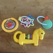 Vintage Lot Of 4 Baby Rattles Plastic Toys Horse Stars Heart 80andrsquos 90andrsquos Teether