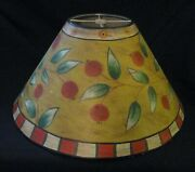 Vintage Hand-painted Metal Tole Lamp Shade Table Or Floor Lamp-15andfrac12 Wide-8 Tall