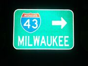 Milwaukee Interstate 43 Route Road Sign - Wisconsin Brewers Mlb