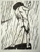 Gerald Coles 1929-2004 Woodcut Figure Pushing Boat With Stick. Boatman. Slade.