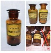 Lot Of 5 Antique Poison Apothecary Pharmacist Drug Bottles Original Labels Minty