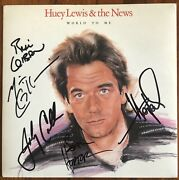 """Huey Lewis And The News World To Me Signed Uk 7"""" Single Huey 12 Import"""