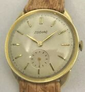 Vintage Zodiac Solid Gold Watch Coin Edge Case Sub 2nd Hand With Exotic Band
