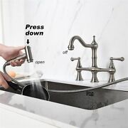 Brass Kitchen Sink Water Faucet Flexible Hose Pull Down Spray Double Handle Tool