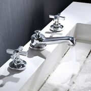 Bathroom Toilet Faucet Double Handles 3 Holes Brass Hot Cold Water Kitchen Sink