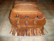 Indian Distressed Tan Real Leather Saddlebags 2014 Chief Vintage New 1019549 50