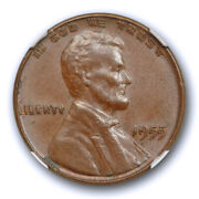 1955 Double Die Obverse Lincoln Cent Ngc Ms 62 Bn Uncirculated 1955/1955 Ddo