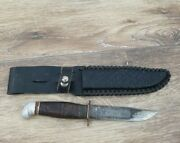 Vintage Made In Finland Fixed Blade Knife With Stacked Leather Handle And Sheath