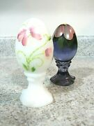 Lot 2 New Fenton Hand Painted Glass Eggs Violet And Opal Satin Butterfly