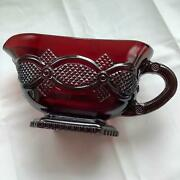 Avon 1876 Cape Cod Ruby Red Glass Footed Sauce Dish Gravy Boat As Is Foot Chip