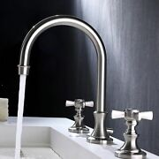 Bathroom Toilet Kitchen Hot Cold Water Brass Faucet Silver 3 Hole 2 Lever Handle
