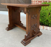 Antique French Gothic Revival Trestle Coffee Table Bench Settee Oak Petite