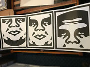 Shepard Fairey Hand Signed Dated Obey 3 Face White Lithograph Set Three Prints