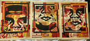 Three Shepard Fairey Signed Dated Prints Obey Collage 3 Face Poster Set