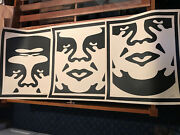 Shepard Fairey Hand Signed Dated Obey 3 Face Cream Lithograph Set Three Prints