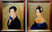 Mid 19th Century Young Couple American School Folk Art Oil Portrait Paintings
