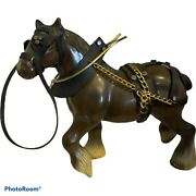 Clydesdale Horse Figurine With Harness Blk/gold.vintage Hong Kong Hard Plastic