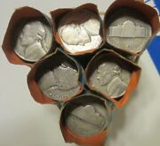 6 Complete Rolls 240 Circulated Wwii 35 Silver Jefferson Nickels 1943 P