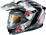 Scorpion 95-1623-se Exo-at950 Outrigger Helmet W/electric Shield Sm White/grey
