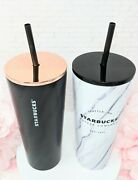 New Starbucks Black And White Marble Stainless Steel Cold Cup Tumbler Set 16oz