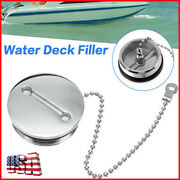 New Boat Deck Fill Filler Replacement Cap And Chain Stainless Steel Fuel Water Gas