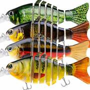 Fishing Lure Set Bass With Topwater 4.4 Inch Jointed Swimbaits With Carry Bag