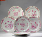 5 Antique Chinese Porcelain 18th C Qianlong Period Famille Rose Dinner Plates