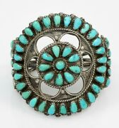 Old Pawn Zuni Native American Sterling Petite Point Turquoise Bracelet Sign S.p.