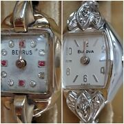 2 Vtg Benrus And Bulova 10k Rolled Gold Plated R.g.p. Wrist Watches W/ Jewels