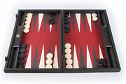 We Games Black Wood Backgammon Set, Leatherette Interior, Made In Greece, 19 In.