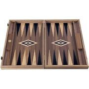 We Games American Walnut With Inlay Wood Backgammon Set, Made In Greece, 19 In