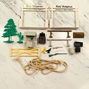 Marx Double R Bar Ranch Roy Rogers Playset Pieces Lot Gates Guns Fence Tree Well