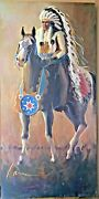 Miguel Camarena Native Chief And Horse Large Oil On Canvas