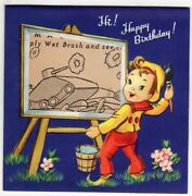 West Point And Wwii Scenes Magic Paint Vintage Unused Birthday Greeting Card