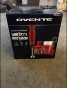 Ovente Immersion Hand Blender Set Bpa-free With 3 Premium Attachments Red Hs565r