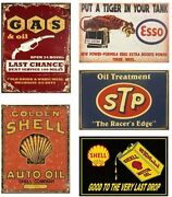 5 Oil And Gas Tin Sign Lot Shell Esso Stp Garage Station Wall Company Texas