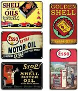 5 Oil And Gas Tin Sign Lot Shell Esso Garage Station Wall Company Dallas Pump