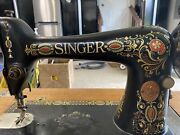 1919 Singer Sewing Machine Table. Red Eye Model 66 Machine In Table 05.