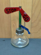1920and039s Victory Glass Co. Candy Container Stop And Go Tin And Glass Signal Sign