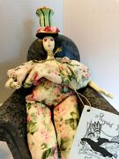 Poupees By Isabelle 16 Doll Porcelain Pint And Red Roses On Tall Hat Millet Body